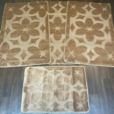 ROMANY GYPSY WASHABLES SETS OF TOURER SIZE 67X110CM MATS-RUGS NEW FLOWER BROWN